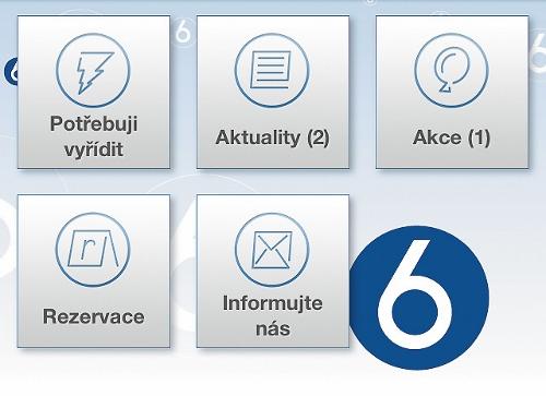 Hlavní menu v mobilním telefonu